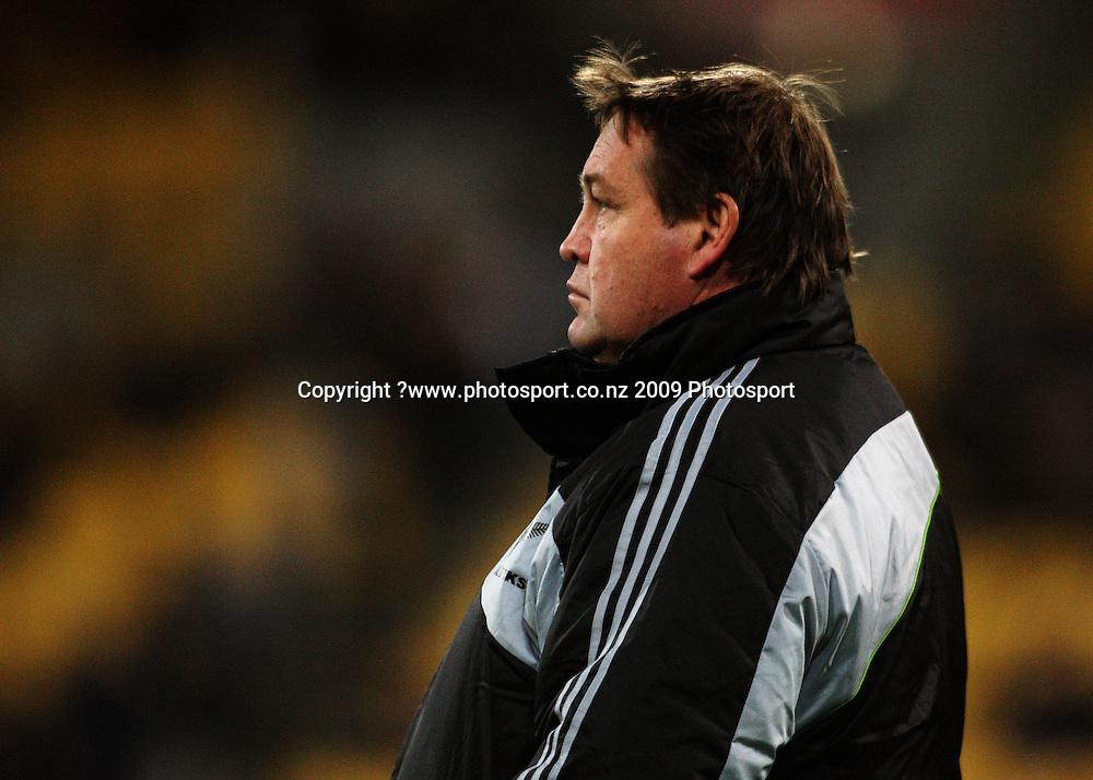 All Blacks forwards coach Steve Hansen.<br /> Investec Tri-Nations - All Blacks v Australia at Westpac Stadium, Wellington. Saturday 19 September 2009. Photo: Dave Lintott/PHOTOSPORT