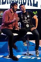 Dominion Bilbaobasket player Alex Mumbru and Tv host Iñaki Lopez during the presentation of the new season of La Liga Endesa 2016-2017 in Madrid. September 20, 2016. (ALTERPHOTOS/Borja B.Hojas)