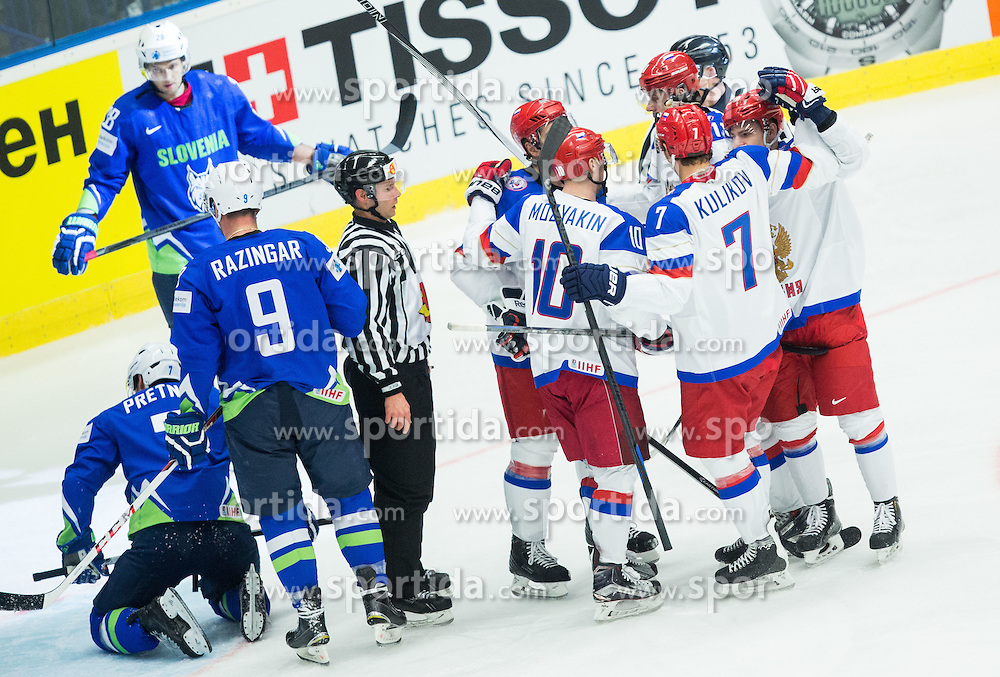 Players of Russia celebrate after scoring second goal during Ice Hockey match between Russia and Slovenia at Day 3 in Group B of 2015 IIHF World Championship, on May 3, 2015 in CEZ Arena, Ostrava, Czech Republic. Photo by Vid Ponikvar / Sportida