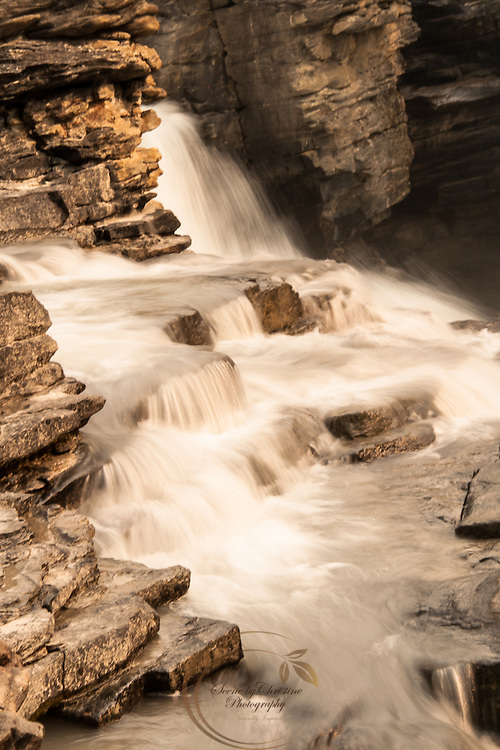 A section of Athabasca Falls in Jasper National Park.