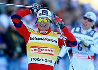 Langrenn<br /> World Cup<br /> Stockholm Sverige<br /> 14.03.2012<br /> Foto: Gepa/Digitalsport<br /> NORWAY ONLY<br /> <br /> FIS Weltcup, 1km Sprint der Damen, klassisch. Bild zeigt den Jubel von Marit Bjørgen (NOR).