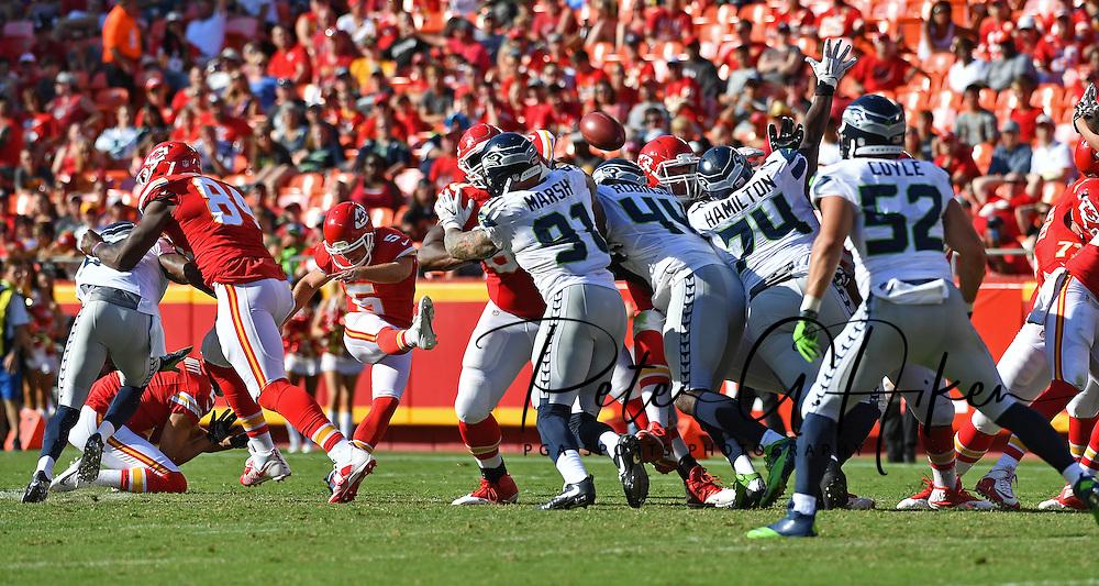 Kicker Cairo Santos #5 of the Kansas City Chiefs kicks a 58-yard field goal against the Seattle Seahawks during the second half at Arrowhead Stadium in Kansas City, Missouri.