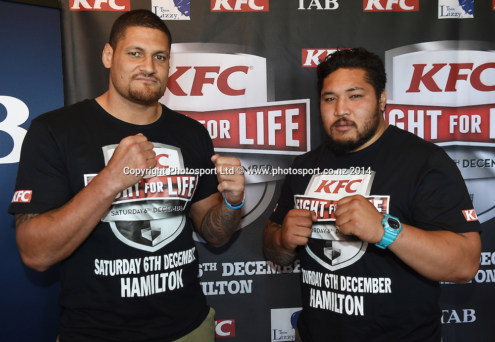 Willie Mason and Ben Tameifuna pose for a picture during a press conference for the KFC Fight For Life by Duco Events. Auckland, New Zealand. Wednesday 3 December 2014. Photo: Andrew Cornaga/www.photosport.co.nz.