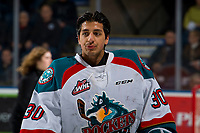 KELOWNA, CANADA - FEBRUARY 23: Roman Basran #30 of the Kelowna Rockets rehydrates during a time out against the Kamloops Blazers  on February 23, 2019 at Prospera Place in Kelowna, British Columbia, Canada.  (Photo by Marissa Baecker/Shoot the Breeze)