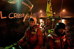 SPAIN GIJON 6OCT08 - Greenpeace activists paint the slogan 'Quit Coal' onto the side of the Windsor Adventure, a coal cargo ship from Colombia into Spain. The action was in protest against against the Spanish government for causing climate change by relying so heavily on coal for the country's energy supply...jre/Photo by GREENPEACE / Jiri Rezac