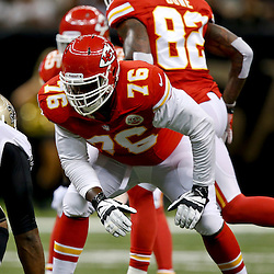 Aug 9, 2013; New Orleans, LA, USA; Kansas City Chiefs tackle Branden Albert (76) against the New Orleans Saints during a preseason game at the Mercedes-Benz Superdome. The Saints defeated the Chiefs 17-13. Mandatory Credit: Derick E. Hingle-USA TODAY Sports