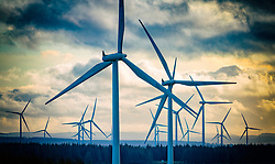 Many wind turbines at Scottish Power Renewables Whitelee Wind farm in East Renfrewshire, Scotland, UK
