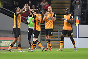 Hull city celebrate going 2-0 up due to Hull City striker Abel Hernandez scoring  during the Sky Bet Championship match between Hull City and Burnley at the KC Stadium, Kingston upon Hull, England on 26 December 2015. Photo by Ian Lyall.