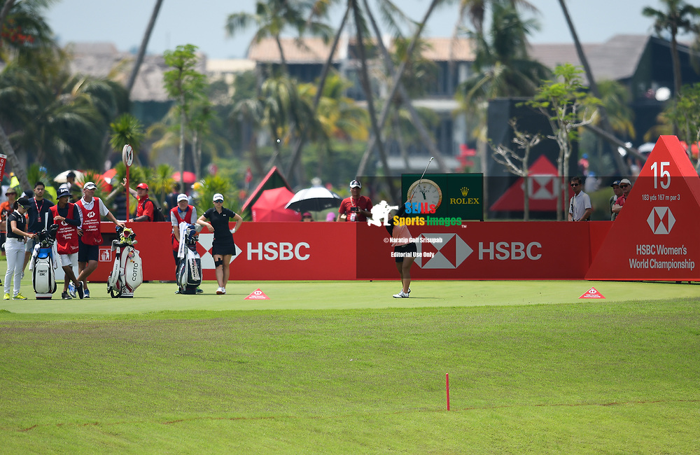 SINGAPORE - MARCH 03: Moriya Jutanugarn (THA) teeing off on Hole 15 during her third round at the HSBC Women's World Championship 2018 at Sentosa Golf Club, Singapore on March 03, 2018.<br /> .<br /> .<br /> .<br /> (Photo by: Naratip Golf Srisupab/SEALs Sports Images)<br /> .<br /> Any image use must include a mandatory credit line adjacent to the content which should read: Naratip Golf Srisupab/SEALs Sports Images