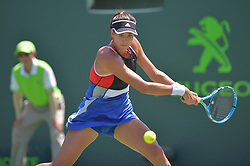 March 26, 2018 - Miami, FL, United States - KEY BISCAYNE, FL - March, 26:Garbine Muguruza in action here during the 2018 Miami Open on March 24, 2018, at the Tennis Center at Crandon Park in Key Biscayne, FL. (Credit Image: © Andrew Patron via ZUMA Wire)