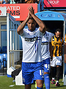 Tom Soares applauds the bury fans as he comes out during the Sky Bet League 1 match between Bury and Port Vale at Gigg Lane, Bury, England on 19 September 2015. Photo by Mark Pollitt.