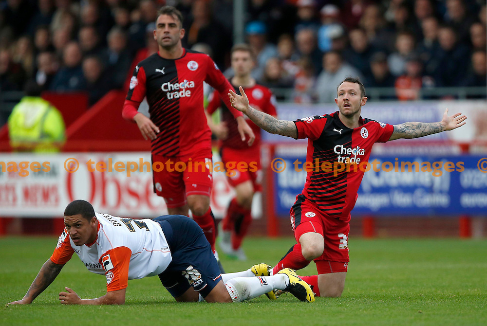 Crawley&rsquo;s Rhys Murphy gestures to the referee during the Sky Bet League 2 match between Crawley Town and Luton Town at the Checkatrade.com Stadium in Crawley. October 17, 2015.<br /> James Boardman / Telephoto Images<br /> +44 7967 642437