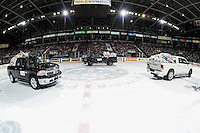 KELOWNA, CANADA - DECEMBER 3: Okanagan Dodge trucks drive on the ice ice to haul away the annual collection of teddy bears on December 3, 2016 at Prospera Place in Kelowna, British Columbia, Canada.  (Photo by Marissa Baecker/Shoot the Breeze)  *** Local Caption ***