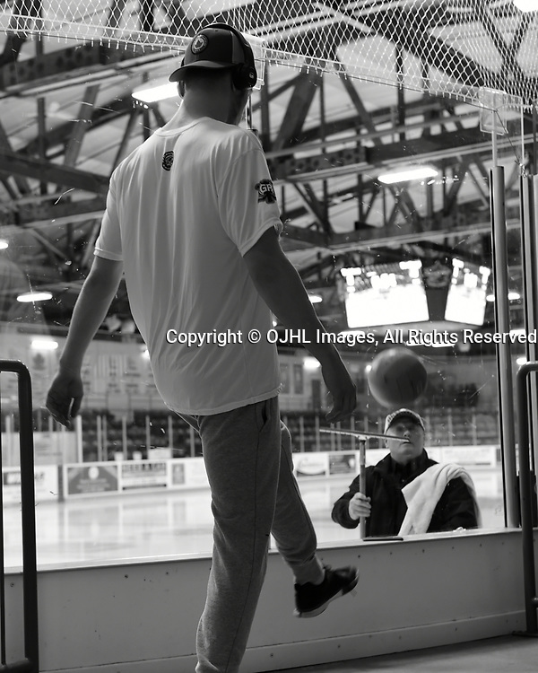 TRENTON, ON  - MAY 5,  2017: Canadian Junior Hockey League, Central Canadian Jr. &quot;A&quot; Championship. The Dudley Hewitt Cup. Game 7 between Georgetown Raiders and the Powassan Voodoos. Georgetown Raiders player before the pregame warm-up.<br /> (Photo by Andy Corneau / OJHL Images)