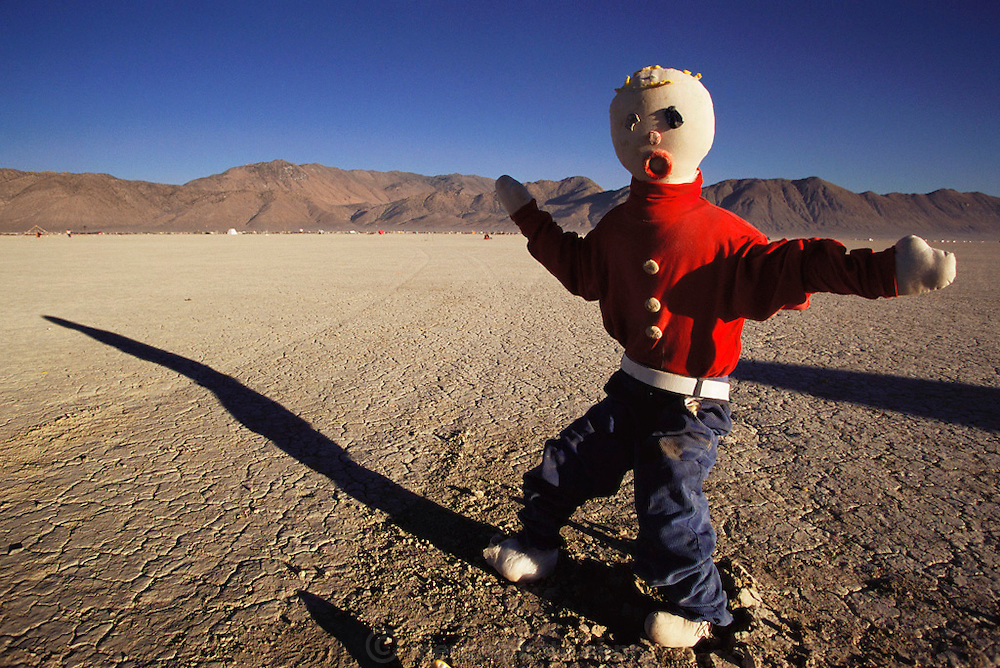 Art installation of Mr. Bill sculpture on the desert playa at Burning Man. Burning Man is a performance art festival known for art, drugs and sex. It takes place annually in the Black Rock Desert near Gerlach, Nevada, USA.
