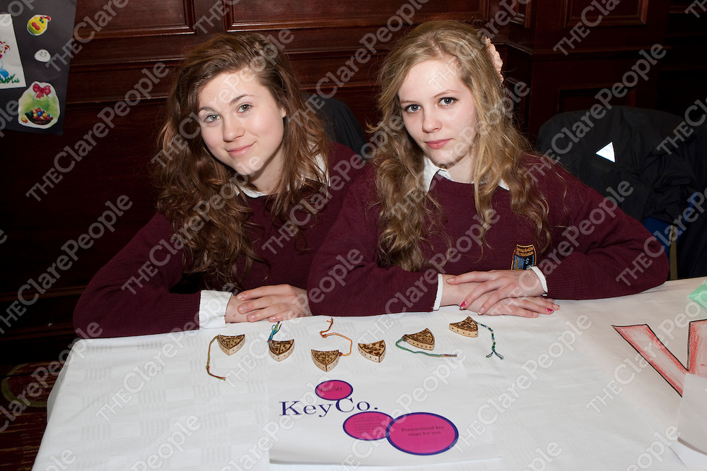 8/3/2012  Attending the Co Enterprise Awards in the West County Hotel last Thursday were Scariff Community College students Rowen Bedford and Roxi Kevill with their Key Co which makes individualised key rings.<br /> Picture Liam Burke/Press 22