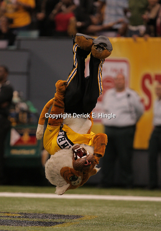2008 November, 29: The Grambling State mascot performs a flip in the endzone after a touchdown during 29-14 win by Grambling State over Southern University during the 35th annual State Farm Bayou Classic at the Louisiana Superdome in New Orleans, LA.  .