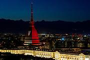 © Filippo Alfero<br /> La Mole Antonelliana illuminata di granata per l'anniversario della tragedia del Grande Torino a Superga<br /> Torino, 04/05/2016