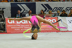 July 28, 2018 - Chieti, Abruzzo, Italy - Rhythmic gymnast Alexandra Agiurgiuculese of Italy performs her ribbon routine during the Rhythmic Gymnastics pre World Championship Italy-Ukraine-Germany at Palatricalle on 29th of July 2018 in Chieti Italy. (Credit Image: © Franco Romano/NurPhoto via ZUMA Press)
