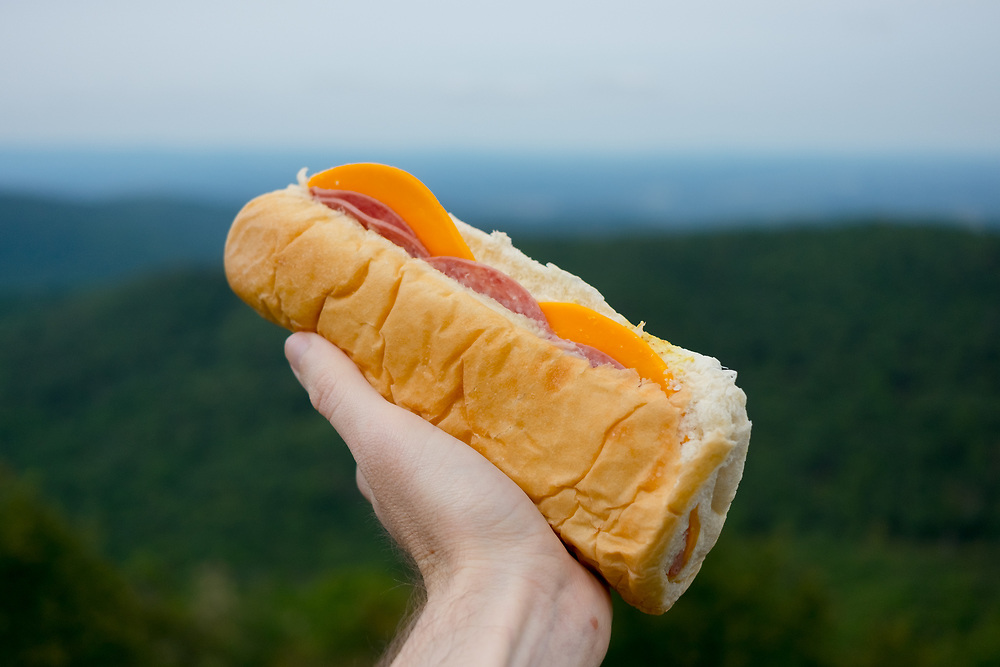 Salami & Cheese Sandwich at Compton Peak in Shenandoah National Park (CODFREE) - OFF: WV