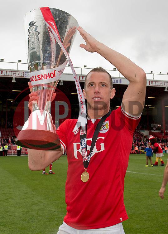 Bristol City's Aaron Wilbraham with the Johnstone Paint Trophy - Photo mandatory by-line: Dougie Allward/JMP - Mobile: 07966 386802 - 03/05/2015 - SPORT - Football - Bristol - Ashton Gate - Bristol City v Walsall - Sky Bet League One