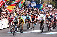 Arrival Sprint / Michael MATTHEWS (Aus)/ Ramunas NAVARDAUSKAS (Ltu)/ Alexander KRISTOFF (Nor)/ Alejandro VALVERDE (Esp)/ Simon GERRANS (Aus)/ Tony GALLOPIN (Fra)/ Michal KWIATKOWSKI (Pol)/ Rui COSTA (Por) during the UCI Cycling World Championships 2015, in Richmond, USA, Elite Men, Richmond - Richmond (261,4Km), on September 27, 2015 - Photo Tim de Waele / DPPI