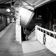 Damen Blue Line Train Station, Wicker Park Neighborhood in Chicago at Milwaukee Avenue