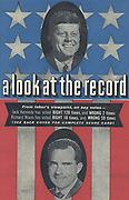 Score card of voting record for the two rival Presidential candidates in the 1960 United States Election. Produced by the American Federation of Labour. Card shows Richard Nixon, bottom and John F Kennedy.