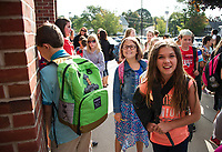 Elm Street School 1st day.  Karen Bobotas for the Laconia Daily Sun