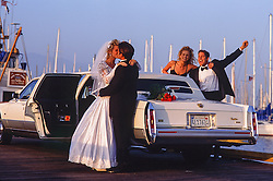 a beautiful bride and groom along with guests outside by a limo in Santa Barbara, California