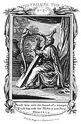 King David praising the Lord and playing the harp.  'Bible': Psalms 150.3.  Copperplate engraving c1808.