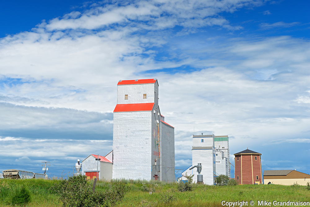 grain elevators and clouds<br /> Kenaston<br /> Saskatchewan<br /> Canada