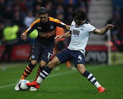 Ayoze Perez of Newcastle United (L) and Ben Pearson of Preston North End in action - Mandatory by-line: Jack Phillips/JMP - 29/10/2016 - FOOTBALL - Deepdale - Preston, England - Preston North End v Newcastle United - EFL Championship