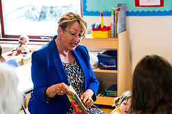 Pictured: Annabelle Ewing reads a story to the children at the nursery before facing the taste test<br /> <br /> Community safety minister, Annabelle Ewing MSP joined staff, parents and children at Bright Sparks Nursery in Edinburgh to sample Bitrex, the most bitter substance in the world. Britex can be added to products, such as liquitabs, to protect small children. The visit was also to raise awareness of Child Safety Week.  <br /> Ger Harley | EEm 8 June 2016