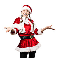 one woman dressed as santa claus christmas welcoming on studio isolated white background