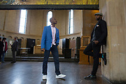 "Kevin Miller and Norman Garrett speak before performing at Attica Correctional Facility in Attica, New York on Tuesday, July 25, 2017. The Glimmerglass Festival, an opera company in Cooperstown, New York, performed songs from George Gershwin's ""Porgy and Bess"" for inmates."
