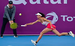 DOHA, Feb. 13, 2019  Hsieh Su-wei of Chinese Taipei hits a return during the women's singles first round match between Hsieh Su-wei of Chinese Taipei and Aliaksandra Sasnovich of Belarus at the 2019 WTA Qatar Open in Doha, Qatar, Feb. 12, 2019. Hsieh Su-wei won 2-0. (Credit Image: © Nikku/Xinhua via ZUMA Wire)
