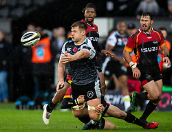 Olly Cracknell of Ospreys offloads<br /> <br /> Photographer Simon King/Replay Images<br /> <br /> Guinness PRO14 Round 6 - Ospreys v Southern Kings - Saturday 9th November 2019 - Liberty Stadium - Swansea<br /> <br /> World Copyright © Replay Images . All rights reserved. info@replayimages.co.uk - http://replayimages.co.uk