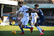 Portsmouth Defender Christian Burgess (6) and Southend United Forward Shayon Harrison (21) battle for the ball during the EFL Sky Bet League 1 match between Southend United and Portsmouth at Roots Hall, Southend, England on 17 February 2018. Picture by Stephen Wright.