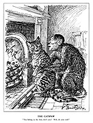 "The Catspaw. ""You belong to the Axis, don't you? Well, do your stuff."" (the Hitler monkey tests the Japanese cat's loyalty by pushing its paw into the fireplace of War)"