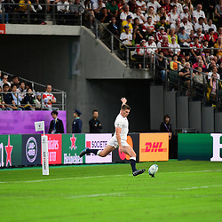Owen FARRELL of England kicks a conversion during the Rugby World Cup 2019 Quarter Final match between England and Australia on October 19, 2019 in Oita, Japan. (Photo by Dave Winter/Icon Sport) - Owen FARRELL - Oita Stadium - Oita (Japon)