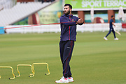 Lancashires Saqib Mahmood warms up before the Royal London 1 Day Cup match between Lancashire County Cricket Club and Derbyshire County Cricket Club at the Emirates, Old Trafford, Manchester, United Kingdom on 2 May 2019.