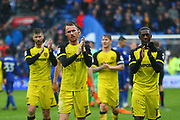 Burton Albion players applaud the travelling Brewers fans during the EFL Sky Bet Championship match between Cardiff City and Burton Albion at the Cardiff City Stadium, Cardiff, Wales on 30 March 2018. Picture by John Potts.
