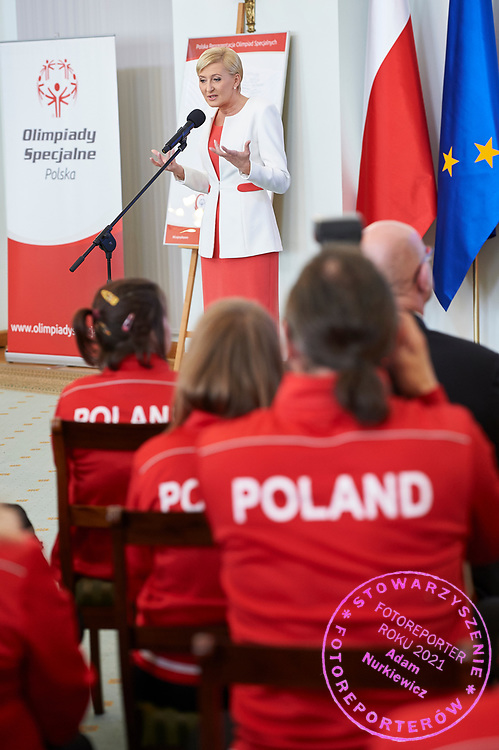 Warsaw, Poland - 2017 March 31: First Lady Agata Kornhauser-Duda speaks while meeting with Special Olympics athletes at Polish President's Palace on March 31, 2017 in Warsaw, Poland.<br /> <br /> Mandatory credit:<br /> Photo by © Adam Nurkiewicz / Mediasport<br /> <br /> Adam Nurkiewicz declares that he has no rights to the image of people at the photographs of his authorship.<br /> <br /> Picture also available in RAW (NEF) or TIFF format on special request.<br /> <br /> Any editorial, commercial or promotional use requires written permission from the author of image.<br /> <br /> Image can be used in the press when the method of use and the signature does not hurt people on the picture.