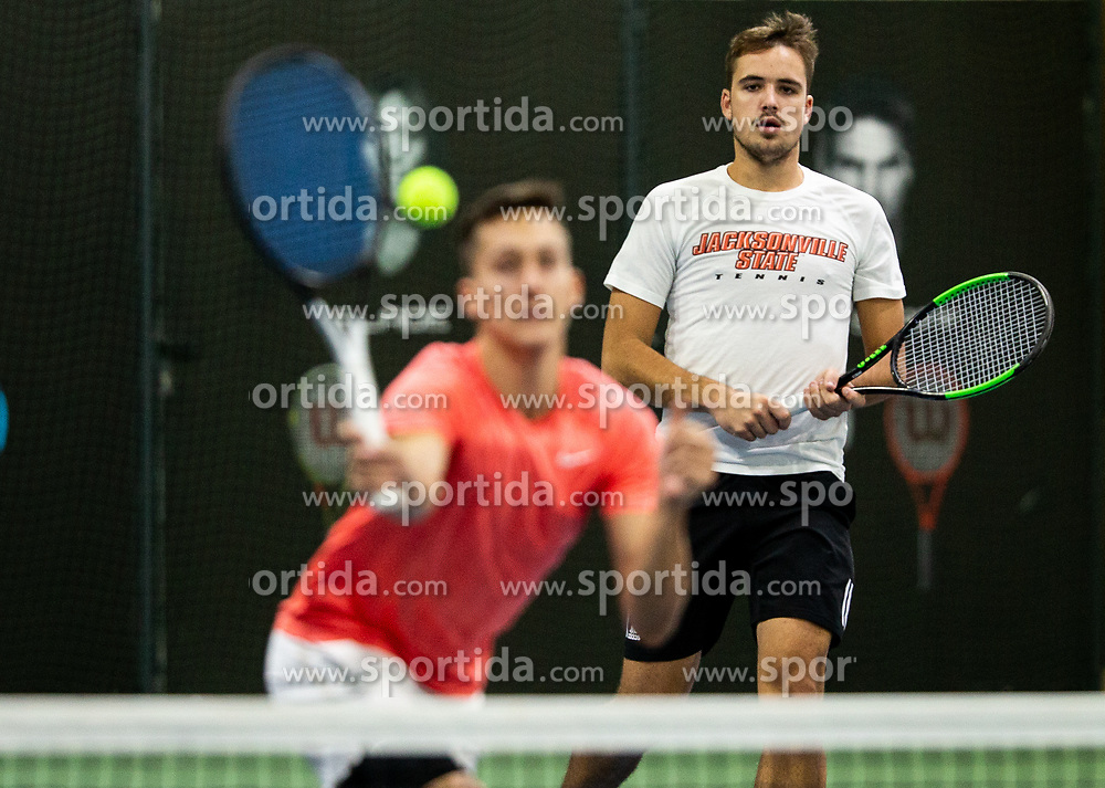 Aljaz Jakob Kaplja (R) and Bor Muzar Schweiger playing final match during Slovenian men's doubles tennis Championship 2019, on December 29, 2019 in Medvode, Slovenia. Photo by Vid Ponikvar/ Sportida