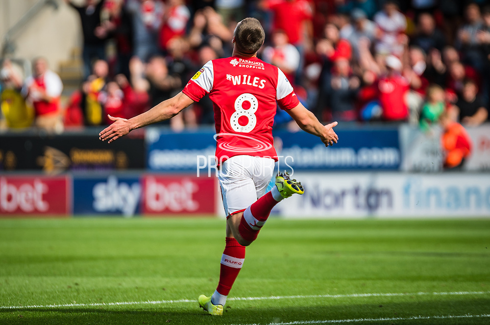 Ben Wiles of Rotherham United celebrating his team's first goal the EFL Sky Bet League 1 match between Rotherham United and Bolton Wanderers at the AESSEAL New York Stadium, Rotherham, England on 14 September 2019.