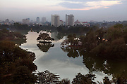 A view of Kandawgyi Lake with central Yangon in the distance.