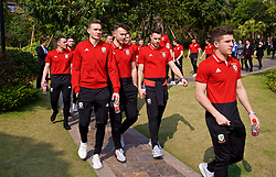 NANNING, CHINA - Thursday, March 22, 2018: Wales' Ryan Hedges, goalkeeper Chris Maxwell and Billy Bodin during a team walk near the Wanda Realm Resort ahead of the 2018 Gree China Cup International Football Championship. (Pic by David Rawcliffe/Propaganda)