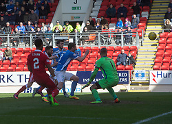 St Johnstone's Thomas Scobbie scoring an OG for Aberdeen's second goal. half  time : St Johnstone 0 v 2 Aberdeen. SPFL Ladbrokes Premiership game played 15/4/2017 at St Johnstone's home ground, McDiarmid Park.