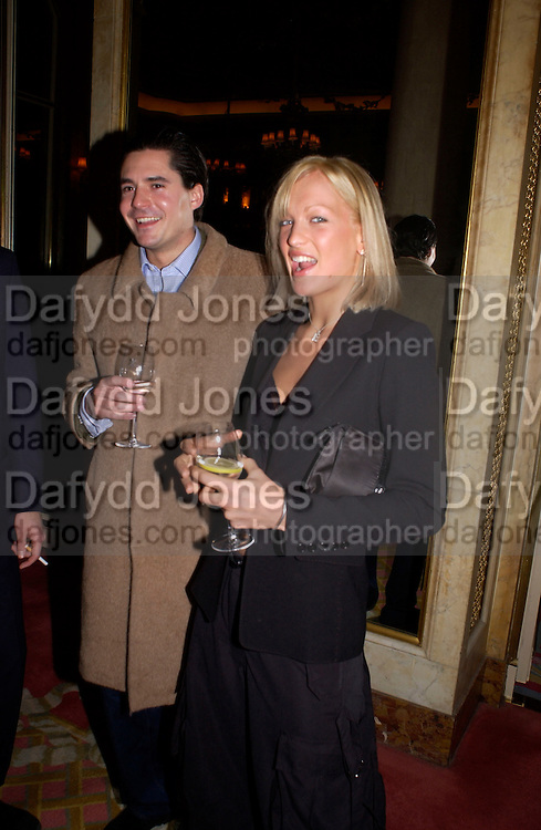 Edward Taylor and Emily Crompton,  The Tatler Travel Awards, Ritz. 9 January 2003.  © Copyright Photograph by Dafydd Jones 66 Stockwell Park Rd. London SW9 0DA Tel 020 7733 0108 www.dafjones.com